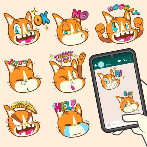 coleções de adesivo de emoji gato fofo vetor