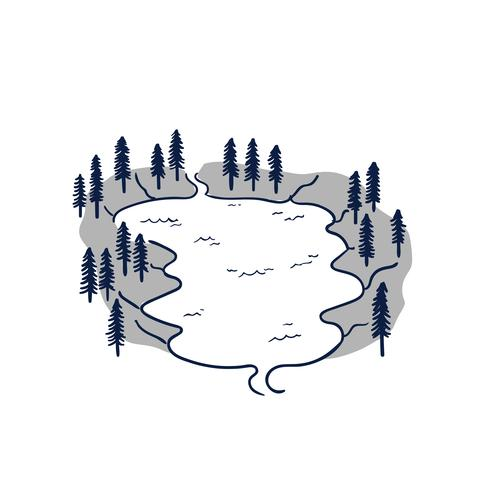 Vector line art Doodle.Tendas nas altas montanhas, com neve gelada durante as férias em família