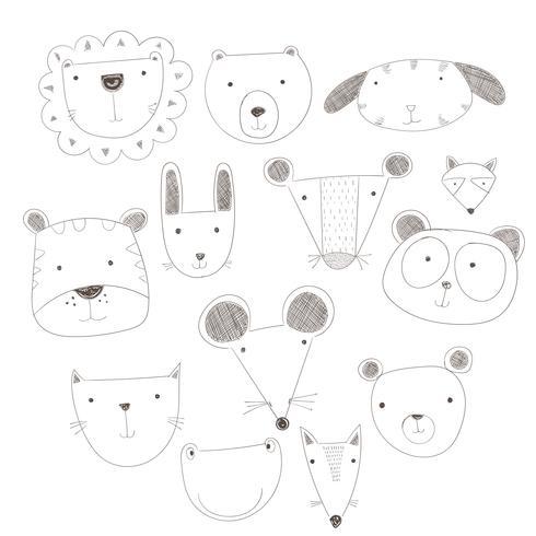 Animais fofos de desenho animado muitos um destaque.Ilustração vetorial de rostos de animais vetor