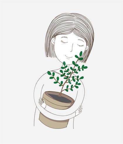 Menina bonito que abraça suas próprias árvores plantadas. vetor