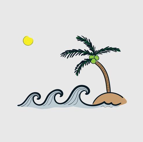 Vector linha arte Doodle.waves na praia aviso desastres naturais tsunami