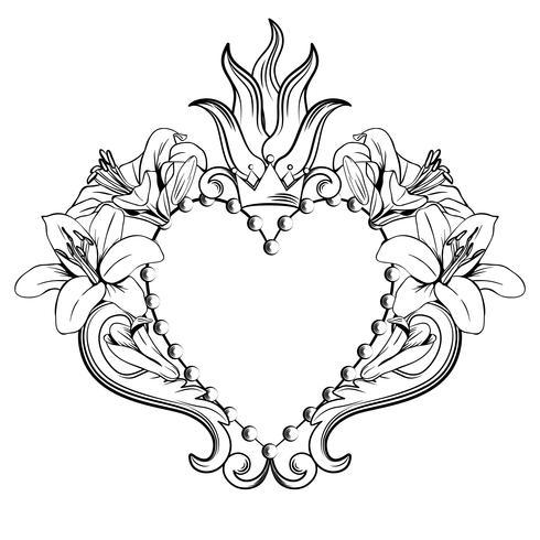 Sagrado Coração de Jesus. Coração decorativo bonito com lírios, coroa na cor preta isolada no fundo branco. Ilustração vetorial vetor