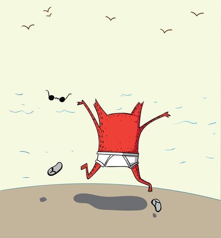 Ele pulou muito feliz para jogar no mar vetor