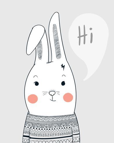 Cara de coelho pessoas vestidas tapete vestindo vestido de camisola listrada lindamente vetor