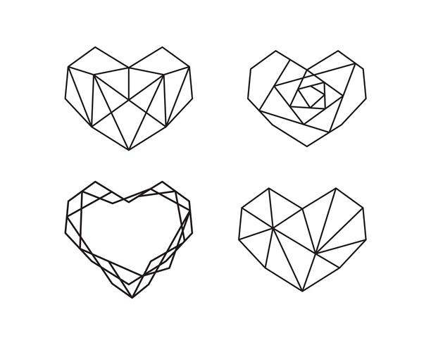 Coleção de formas geométricas do coração. Conjunto de logotipos de coração em vetor. Coração logotipo símbolo e ícones dia dos namorados vetor