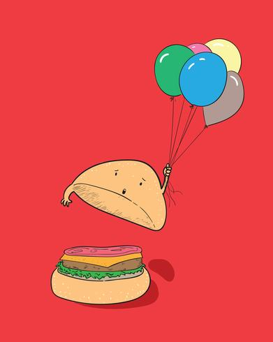 Hamburger mantém balões no ar vetor