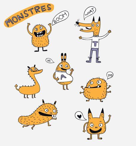 Animais dos desenhos animados o design de personagens de vetor de monstro bonito