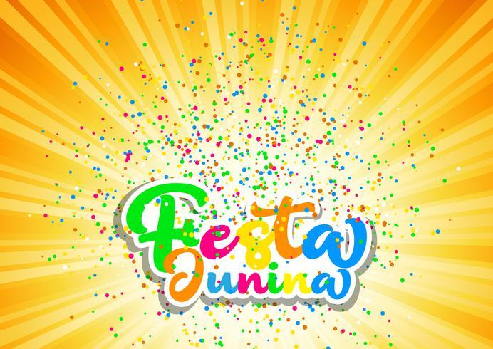 Fundo de Festa Junina com letras coloridas e confetes vetor