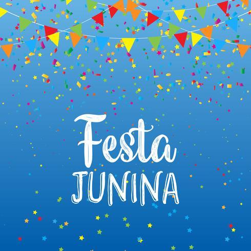 Fundo Festa Junina com banners e confetes vetor