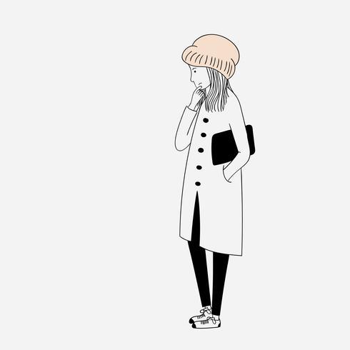 A menina vestida com um casaco grosso em um lugar onde ela estava fria e solitária vetor