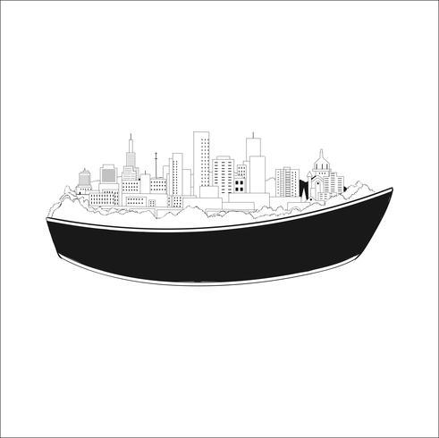 Construção de navio de carga paisagem construindo casas e as pessoas se mudam para um novo lugar vetor