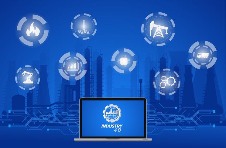 Imagem de conceito de indústria 4.0. instrumentos industriais na fábrica, Internet da rede de coisas vetor