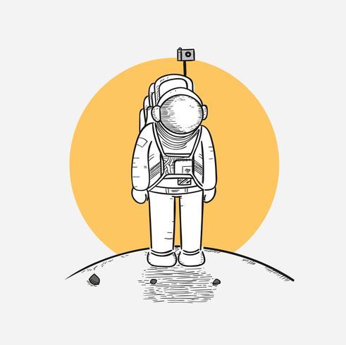 Os astronautas estão pisando na lua pela primeira vez vetor