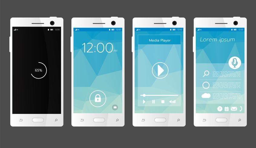 Modelo de tela de interface de usuário moderno para telefone inteligente móvel vetor