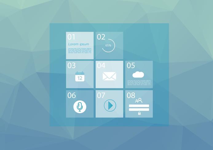 Modelo de site com menu básico. Ícones de arte de linha. Fundo de vector azul baixo poli. Símbolos gráficos da interface do usuário. Ilustração em vetor eps10.