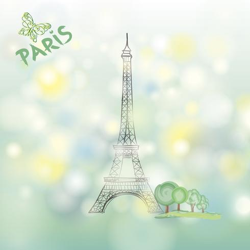 Sinal de Paris Famosa Torre Eiffel viagens França Primavera fundo vetor