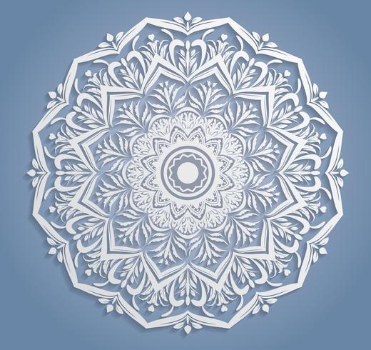 Decoração de renda branca de vetor, redondo doily Landim, ornamento de círculo de papel de recorte vetor