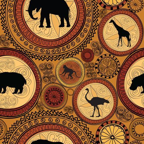 Padrão sem emenda étnica africana. Abstrato com animais. vetor
