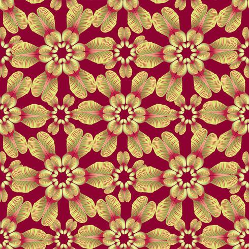 Padrão de folhas florais. Plano de fundo sem emenda Ornamento de folha de redemoinho de natureza vetor