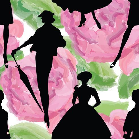 Fundo de mulheres da moda. Senhora retro vestido sem costura padrão. vetor