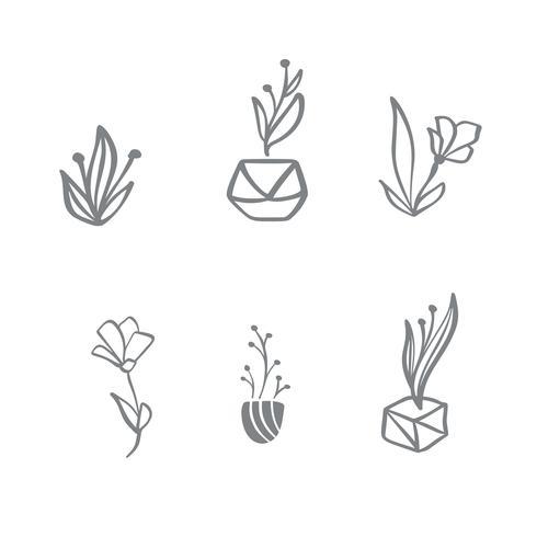 Conjunto de logotipo floral escandinavo de vetor. Mão desenhada ícone flor cosméticos orgânicos, florista casamento, decoração de casa vetor