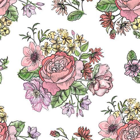 Padrão sem emenda floral. Fundo de flor. Enfeite de jardim vetor