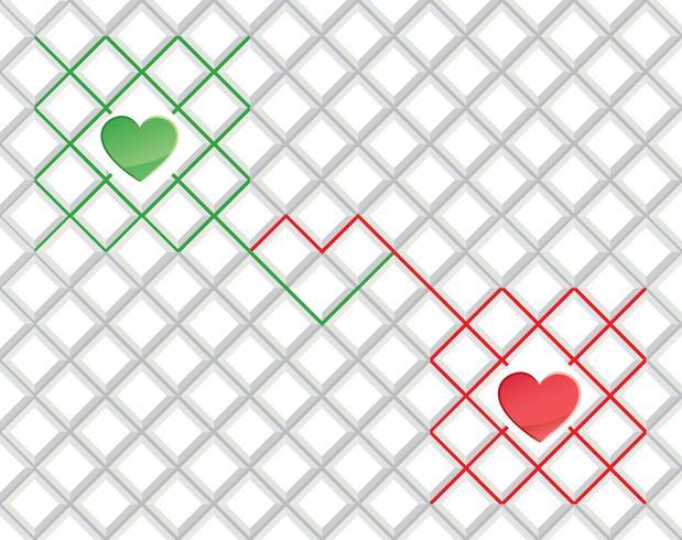 Love heart seamless pattern Ornamento geométrico de férias de dia dos namorados vetor