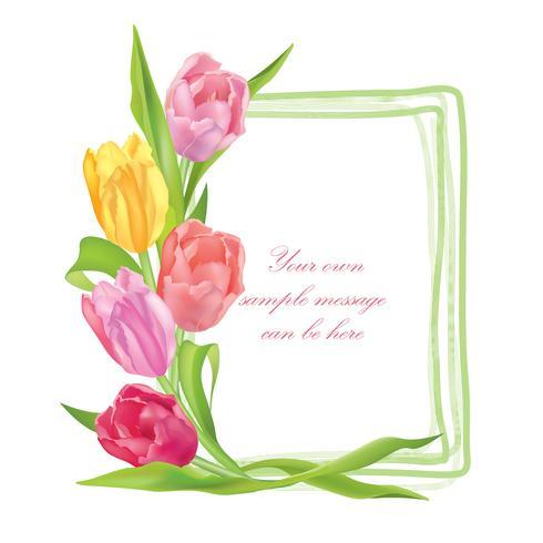 Quadro floral de buquê de flores. Fundo de cartão de verão vetor