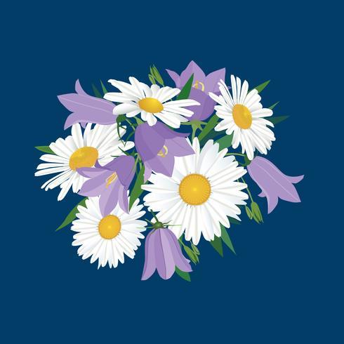 Flores isoladas. Buquê de verão floral. vetor
