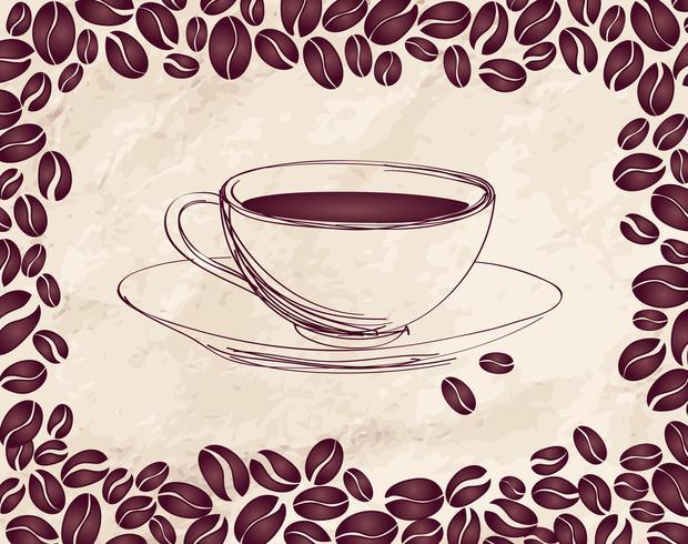 Bebida quente de café. Fundo do cartão de café. Padrão retro de grãos de café. vetor