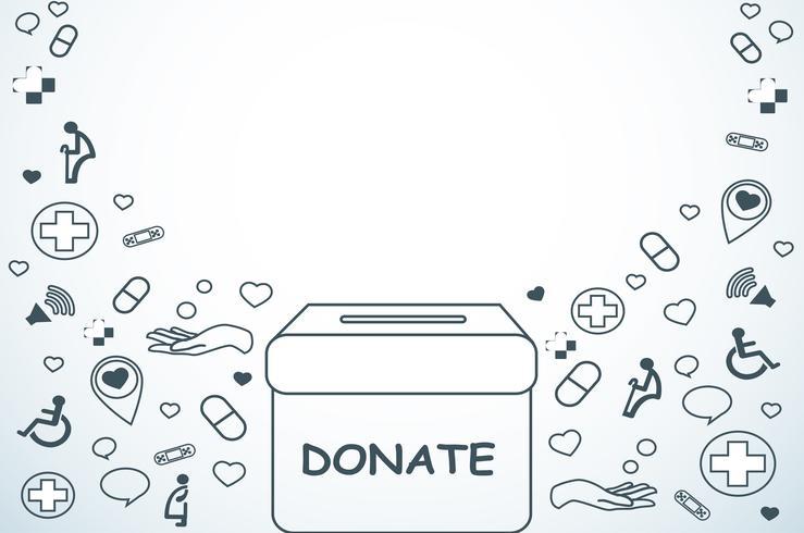 doar, caridade para médicos e saúde vector de fundo