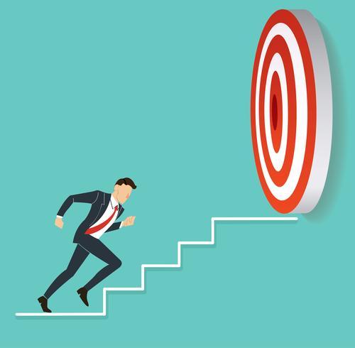 empresário correndo para alvo de tiro com arco. vetor de conceito de negócio