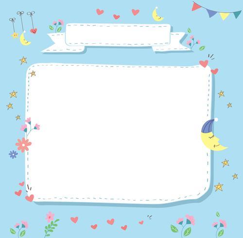 fundo de cartão de chuveiro de bebê fofo desenho animado pastel vetor