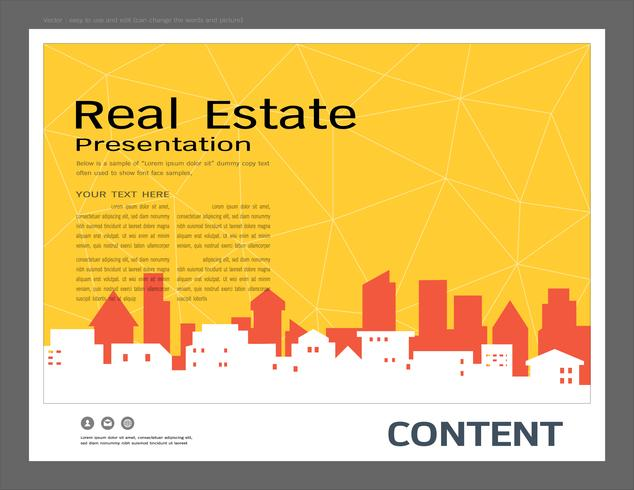 Modelo de design de apresentação, edifícios da cidade e conceito imobiliário. vetor