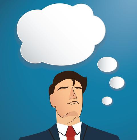 Retrato, de, homem negócios, pensando, com, nuvem, chat, caixa, fundo vetor