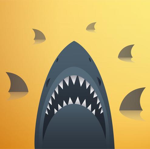 Ilustração do vetor de tubarão e fundo do espaço