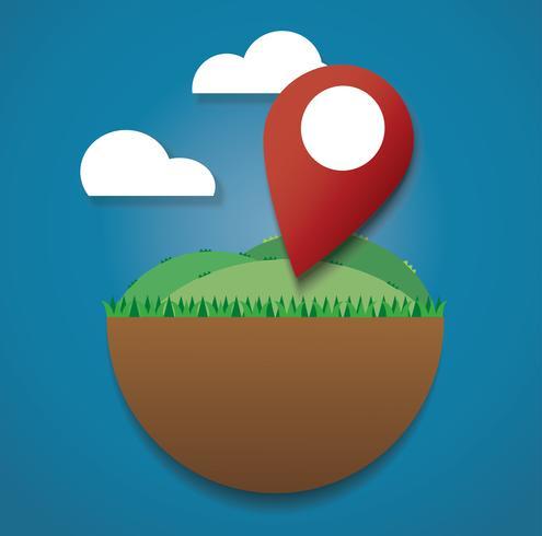 Ícone de localização no campo verde. chegar ao destino. símbolo de viagem vetor