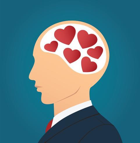 Homem negócios, com, ícone coração, em, cabeça vetor