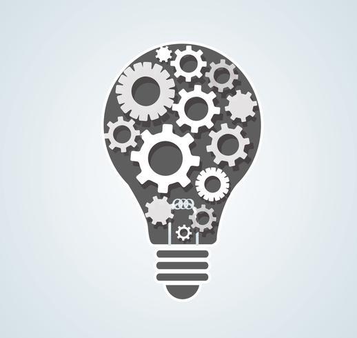 engrenagens em forma de lâmpada, conceito abstratas engrenagens de pensamento vetor