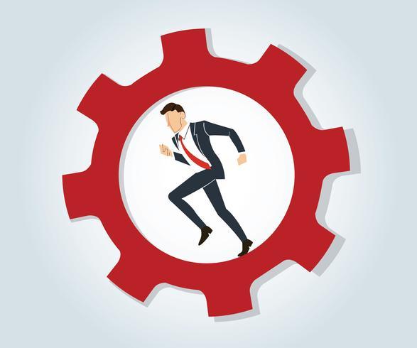Empresário correndo no vetor de engrenagem de roda