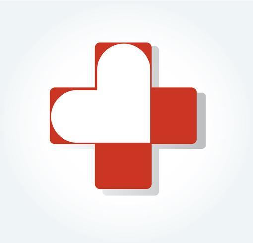 coração no ícone do hospital design, coração em símbolo médico vetor