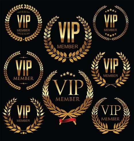 Coleção de distintivo dourado de membro VIP vetor