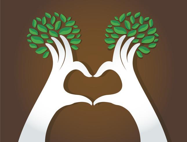 mãos coração forma com folhas, os amantes da natureza, dia mundial do ambiente vetor