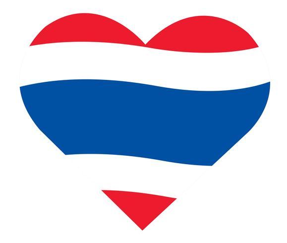 Bandeira tailandesa no ícone de coração, bandeira da Tailândia em vetor de forma de coração
