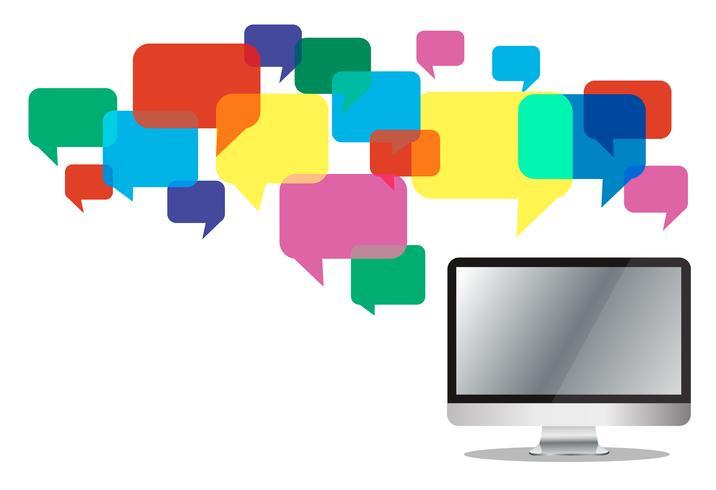 computador com caixa de chat colorido, fundo de comunicação de caixa de mensagem vetor