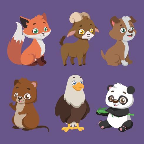 Conjunto de seis espécies diferentes de animais vetor