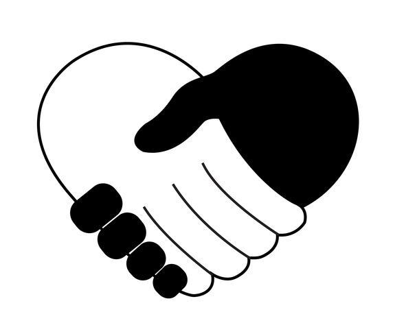 segurando a mão no vetor de forma de coração