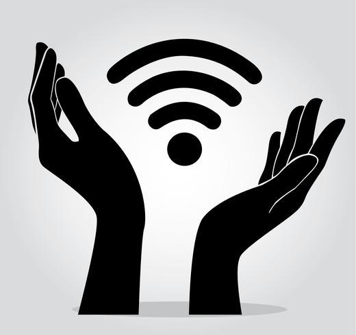 mãos segurando o símbolo do ícone de Wifi vetor