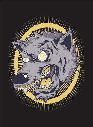 Desenho de mão do lobo bravo Face.vector vetor