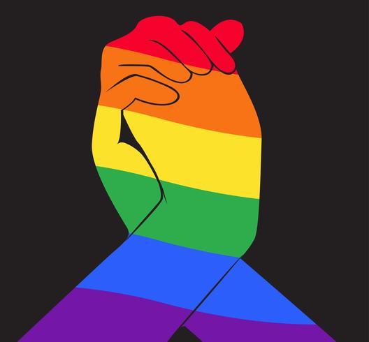 mão segurando outra mão bandeira arco-íris símbolo LGBT vetor
